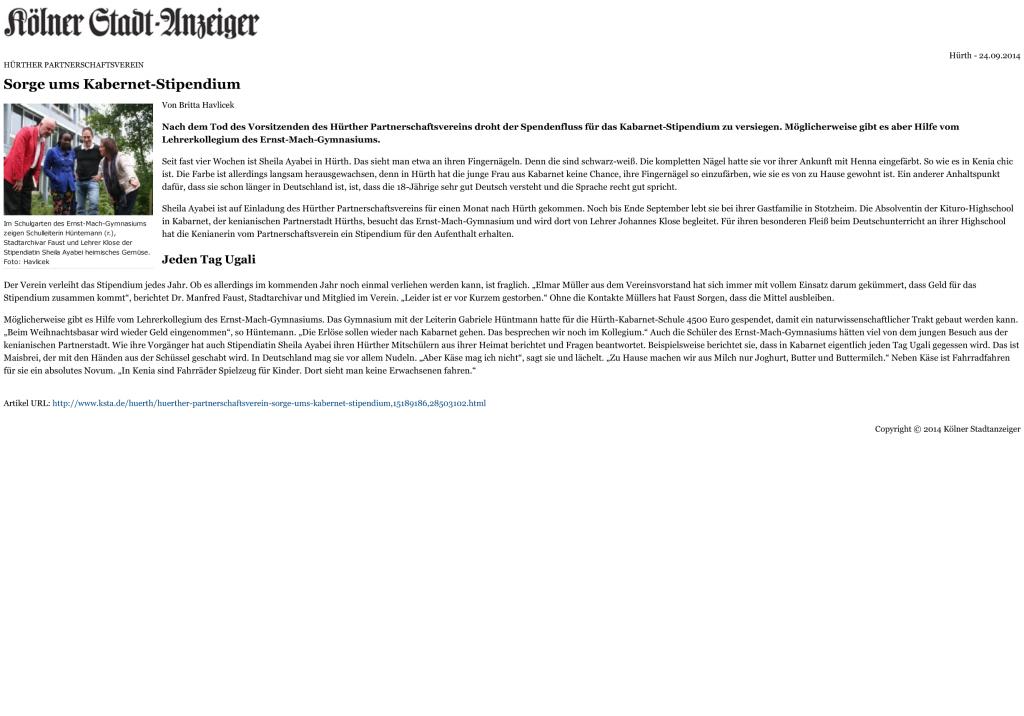 Artikel des Kölne Stadtanzeigers vom 24.09.2014